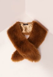 Missguided Faux Fur Stole Scarf Tan Brown