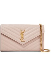 Saint Laurent Monogramme Small Quilted Textured Leather Shoulder Bag Blush