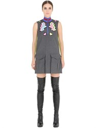 Fyodor Golan Pony Patches Wool Flannel Dress