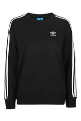 Adidas Three Stripe Boxy Sweater By Originals Black
