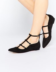 Truffle Collection Nicky T Bar Strappy Point Flat Shoes Black Mf