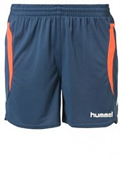 Hummel Team Player Sports Shorts Dark Denim Shocking Orange Dark Blue