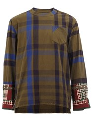 Sacai Plaid Long Sleeve T Shirt Green