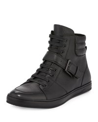 Kenneth Cole Brand Slam Leather High Top Sneaker Black