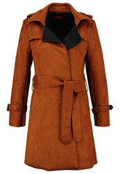 Derhy Campagne Faux Leather Jacket Marron Brown