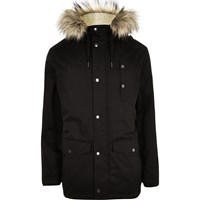 River Island Mens Black Faux Fur Hooded Parka Coat