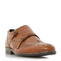 Linea Road Smart Wingtip Double Monk Shoes Tan