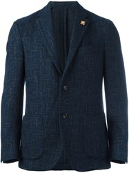 Lardini Abstract Pattern Blazer Blue