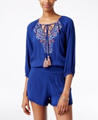 American Rag Embroidered Tassel Tie Romper Only At Macy's Blue