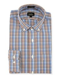 Neiman Marcus Classic Fit Non Iron Plaid Dress Shirt Blue Brown