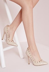 Missguided Patent Studded Court Shoes Nude Beige