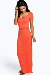 Boohoo Cap Sleeve Belted Maxi Dress Orange