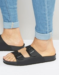 Pull And Bear Pullandbear Double Strap Sandals In Black Black