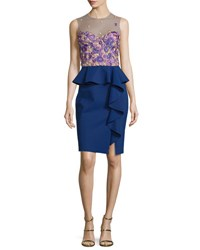Marchesa Sleeveless Embroidered Peplum Dress Navy