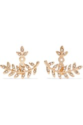 Kenneth Jay Lane Rose Gold Plated Crystal Earrings Metallic