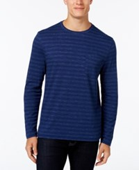 Club Room Men's Striped Long Sleeve Shirt Navy Blue