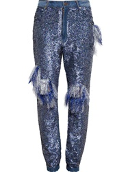 Ashish Frayed Sequinned Jeans Blue