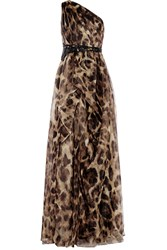 Badgley Mischka Embeliished Leopard Print Silk Organza Gown Animal Print