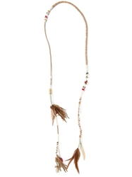 Etro Long Wrap Tassel Feather Necklace Brown