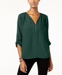 Inc International Concepts Roll Tab Zip Trim Blouse Only At Macy's Hunter Forest