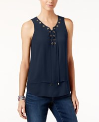 Inc International Concepts Sleeveless Lace Up Top Only At Macy's Deep Twilight