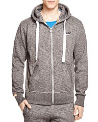 Superdry Orange Label Zip Front Hoodie Low Light Black Grit