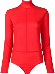 Nina Ricci Turtleneck Bodysuit Red