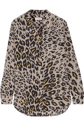 Equipment Reese Leopard Print Washed Silk Shirt Stone