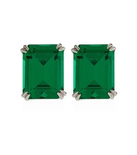 Carat Emerald Cut Stud Earrings Female