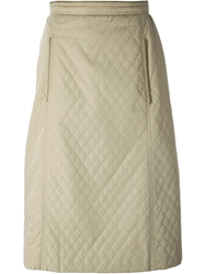 Celine Vintage Quilted Skirt Nude And Neutrals
