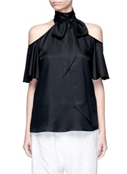 Temperley London 'Atlas' Off Shoulder Tie Neck Silk Blouse Black