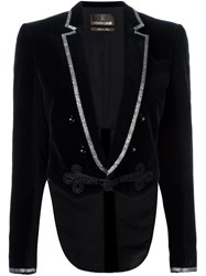 Roberto Cavalli Cropped Metallic Trim Jacket Blue