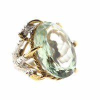 Tessa Metcalfe Green Quartz Deborah Ring Gold Green Silver