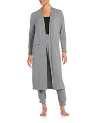 Lord And Taylor Knit Open Front Robe Grey
