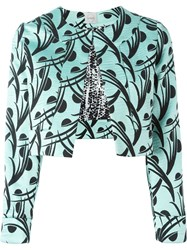 Eggs Leaves Print Cropped Jacket Blue