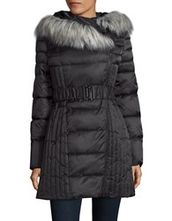 Betsey Johnson Faux Fur Trimmed Hooded Puffer Jacket Black