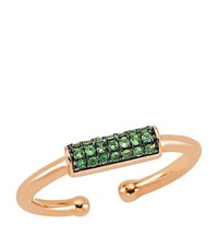 Bee Goddess Happy Lucky Green Sapphire Bar Ring Female Rose Gold