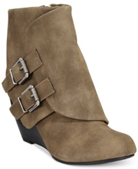 American Rag Cora Foldover Wedge Booties Only At Macy's Women's Shoes Taupe