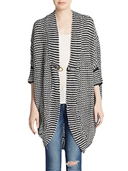 One A Striped Cocoon Cardigan Black White