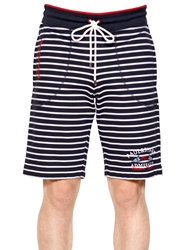 Paul And Shark Striped Cotton Fleece Shorts White Navy