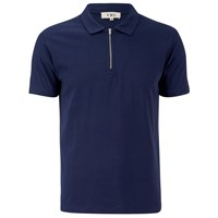 Ymc Men's Perforated Zip Polo Shirt Navy Blue