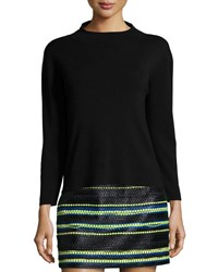 Milly Funnel Neck Wool Pullover Black