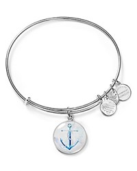 Alex And Ani Infusion Anchor Expandable Wire Bangle Silver