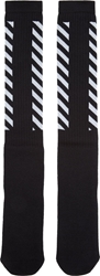 Off White Black And White Striped Tube Socks