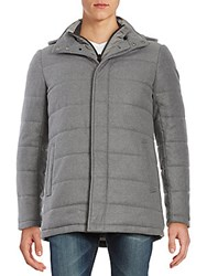 Saks Fifth Avenue Long Sleeve Quilted Jacket Heather Charcoal