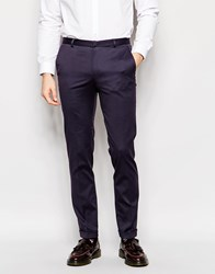 Heart And Dagger Cotton Trousers With Turn Up In Super Skinny Fit Blue