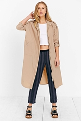 Unif Nylon Calf Length Jacket Taupe