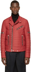 Balmain Red Quilted Biker Jacket