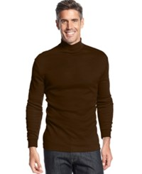 John Ashford Long Sleeve Mock Neck Solid Interlock Shirt Sable