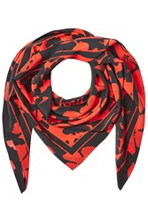 Mcq By Alexander Mcqueen Printed Silk Scarf Red